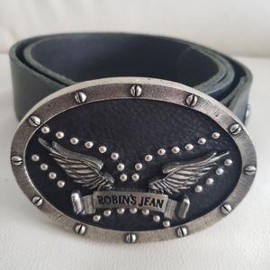 Robin's Jean Men's Black Leather Belt